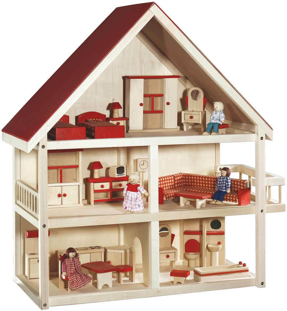 roba kinder holz puppenhaus puppenstube m bliert ebay. Black Bedroom Furniture Sets. Home Design Ideas
