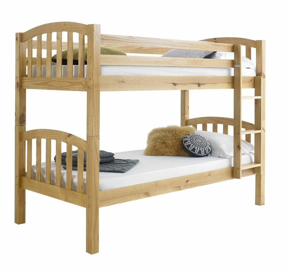 Happy beds american 3ft solid wooden bunk bed frame for Unfinished loft bed