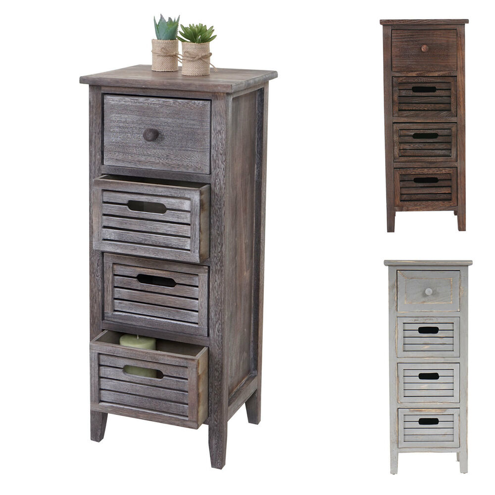 schrank kommode 74x30x25cm shabby look vintage wei braun grau braun grau ebay. Black Bedroom Furniture Sets. Home Design Ideas