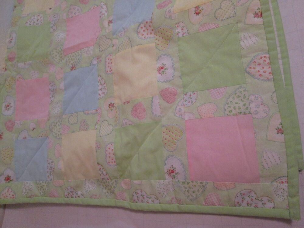 Handmade Quilted Baby Blanket Pastel Hearts Large Quilt 48