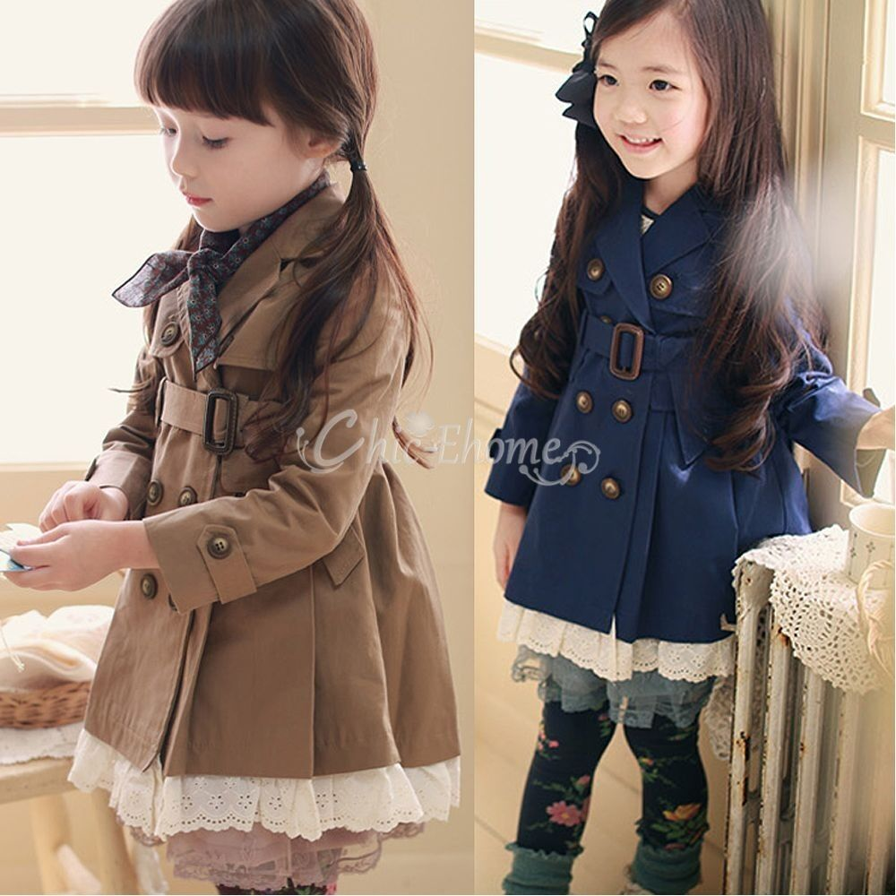 Girls Kids Double Breasted Wind Jacket Trench Coat Parka Fall