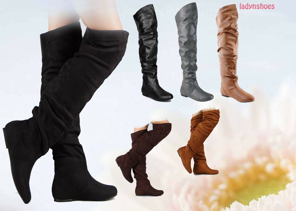 pull up toe comfort flat slouchy thigh high