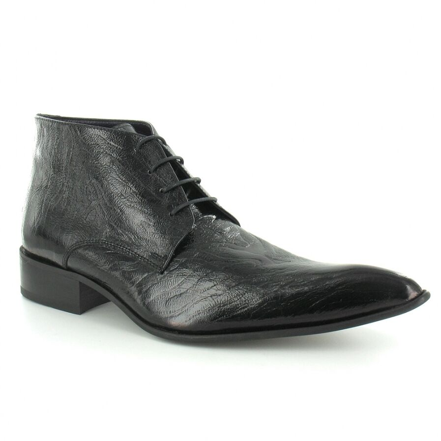 gucinari 7275 mens crinkle patent leather lace up boots