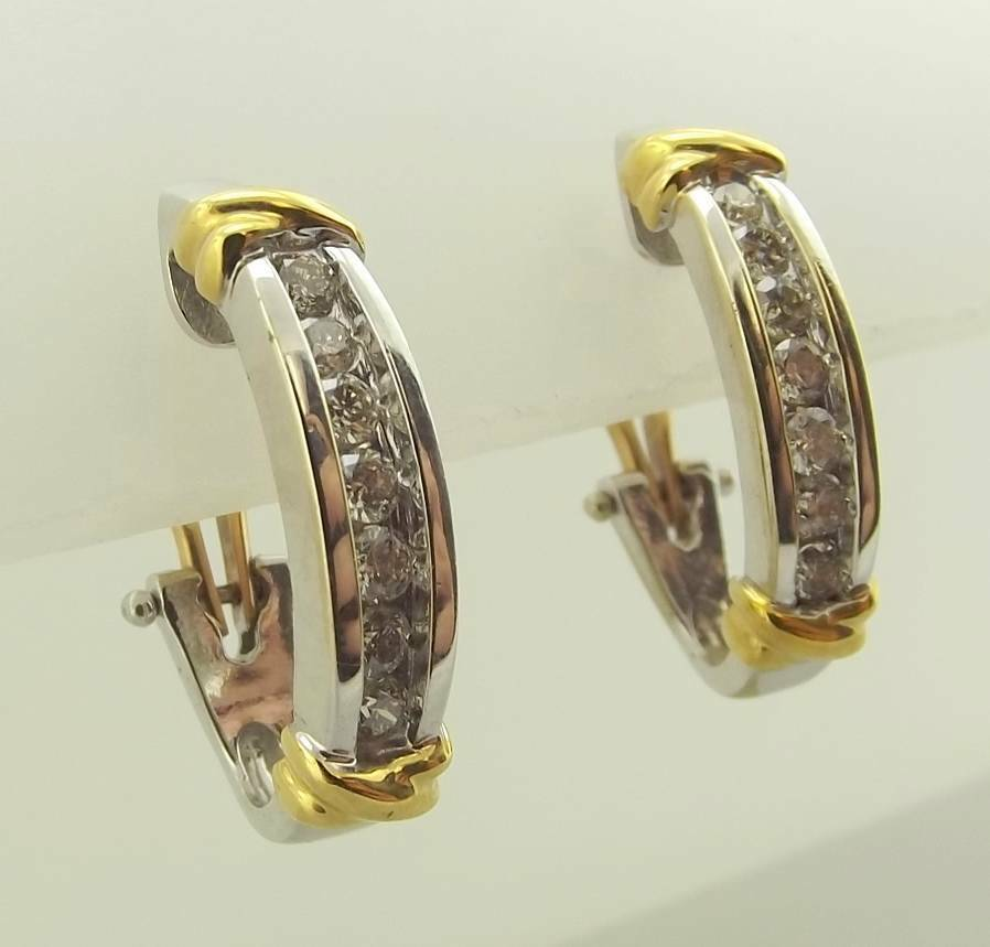two earrings 14kt two tone gold bar w x omega back earrings 8414
