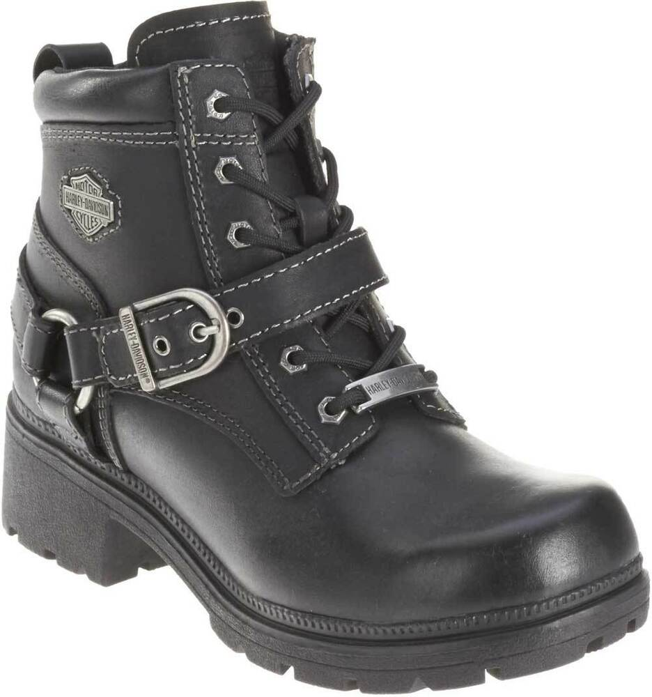 harley davidson women 39 s tegan 4 inch black lace up boots d84424 ebay