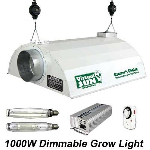 virtual sun 1000w dimmable hps mh hood digital grow light. Black Bedroom Furniture Sets. Home Design Ideas