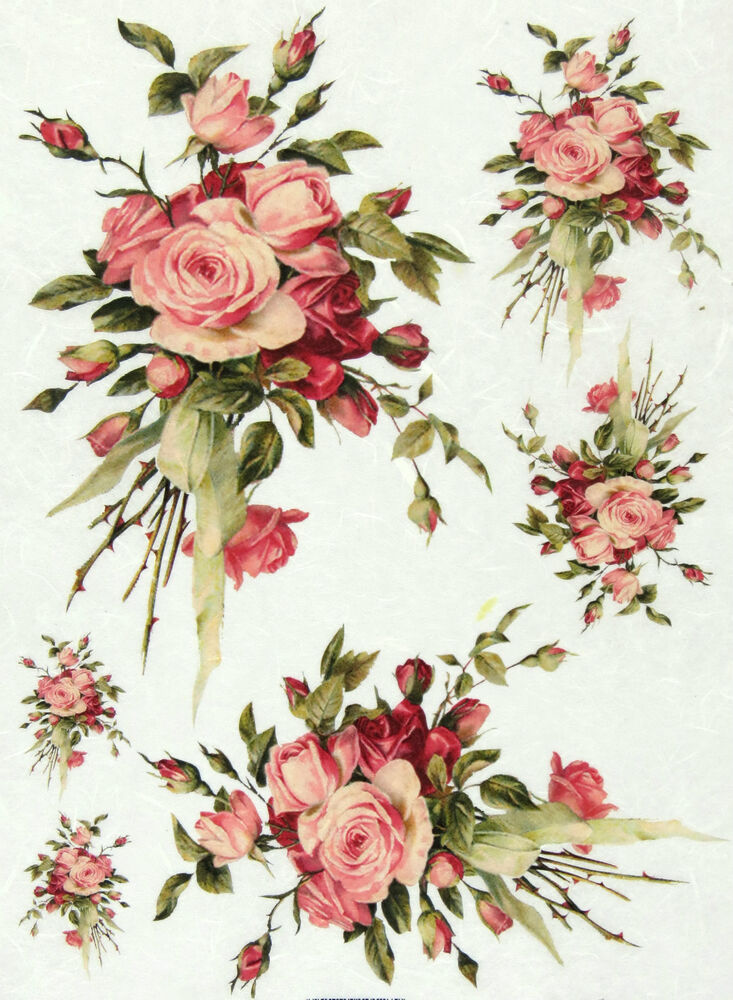 Rice Paper For Decoupage Scrapbooking Sheet Vintage Rose