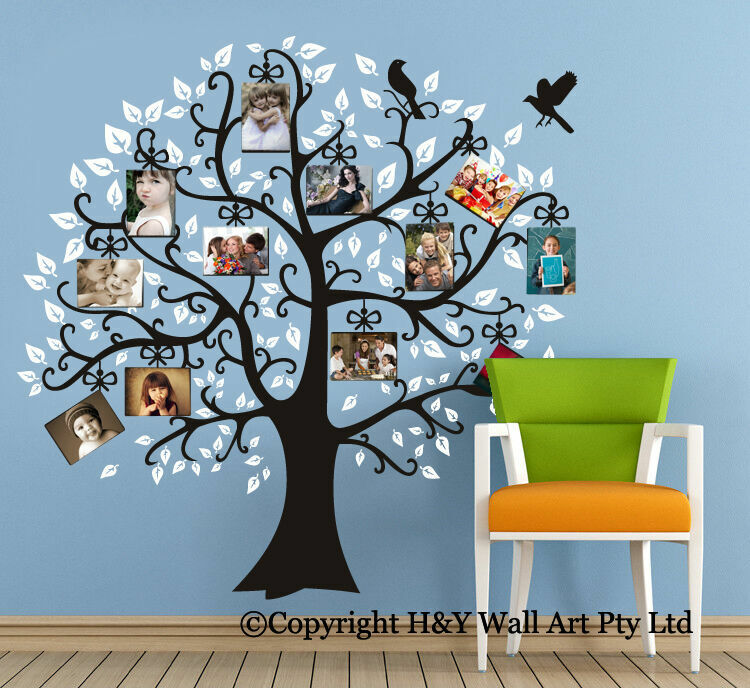 Family photo tree wall stickers decal removable kids for Diy tree wall mural