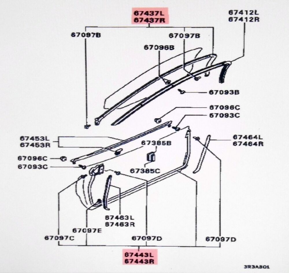 mitsubishi right lower door weatherstrip gto 3000gt