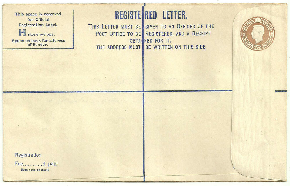 registered letter 51 2d brown george vi registered letter envelope 24259 | s l1000