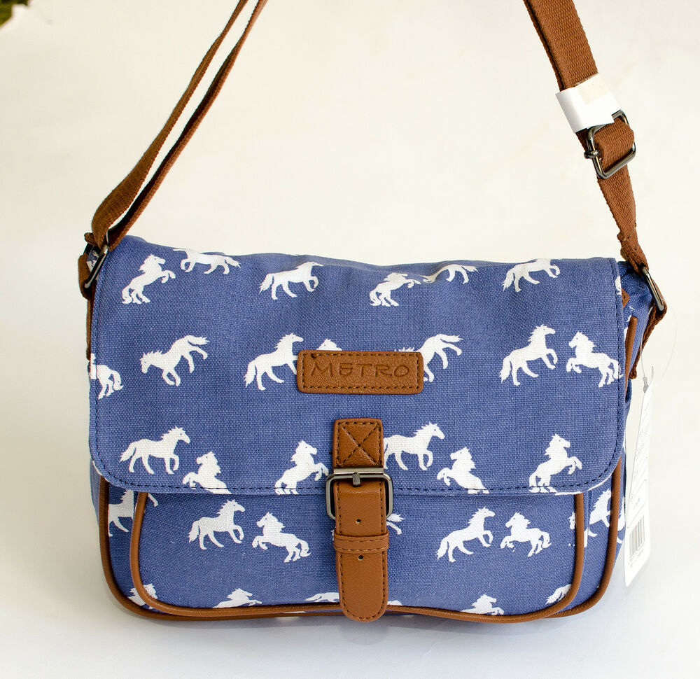 New Metro Horse Pattern Canvas Cross Body Shoulder Bag