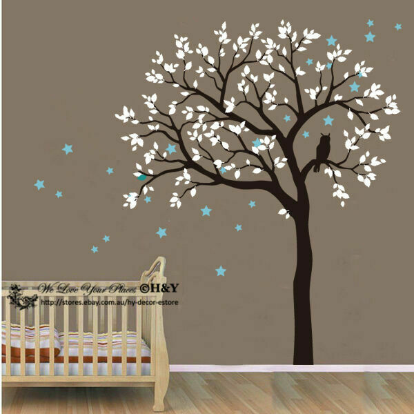 Owl hoot star tree wall stickers vinyl decal kids nursery for Baby nursery tree mural