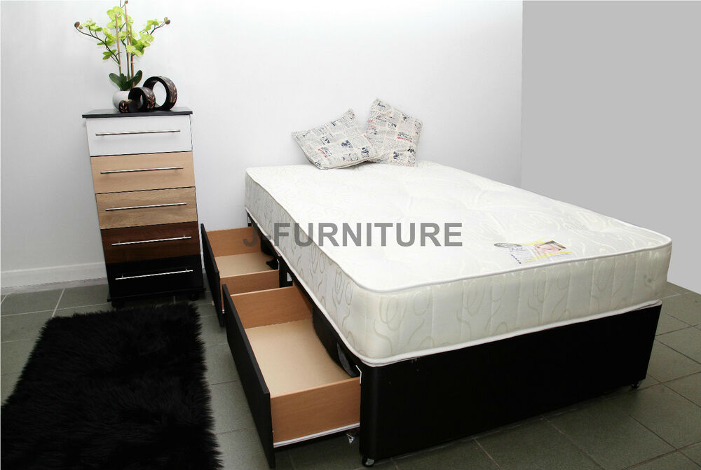 4ft Double Divan Bed With 2 Drawers Orthopaedic Mattress Ebay