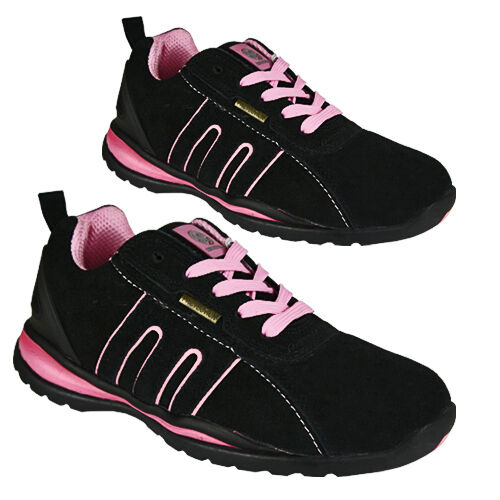 WOMENS SAFETY BOOTS LEATHER STEEL TOE CAPS ANKLE TRAINERS HIKING SHOES  LADIES 0384ccdf79