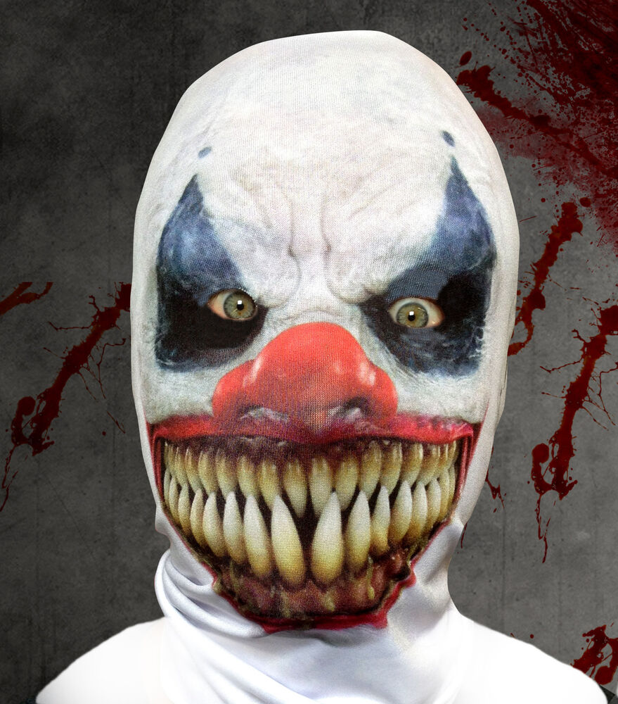 Christmas fancy dress ideas list - Demon Clown 3d Effect Face Skin Lycra Fabric Face Mask Grim Reaper