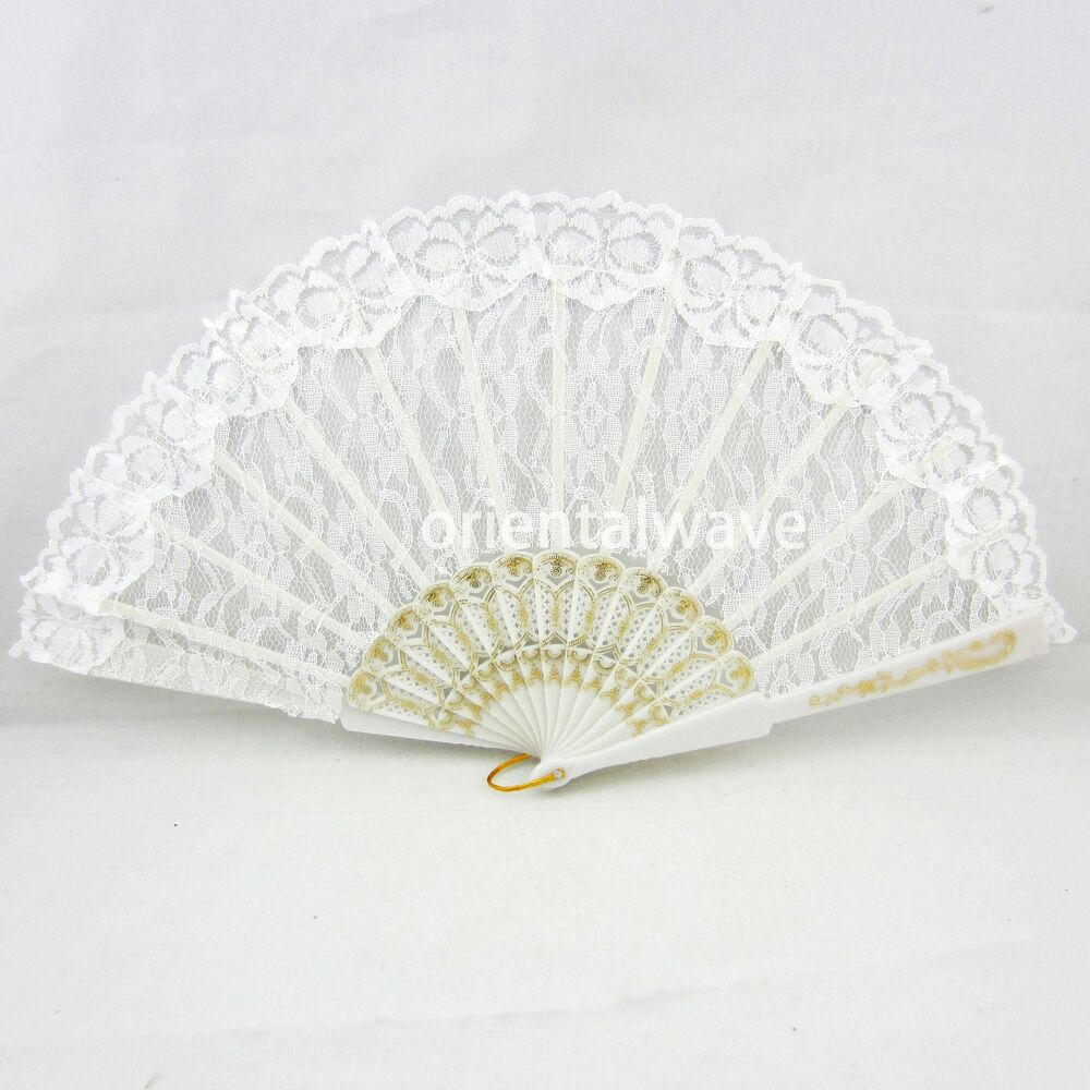 White Elegant Gold Lace Transparent Spanish Wedding Party Hand Fan Beautiful