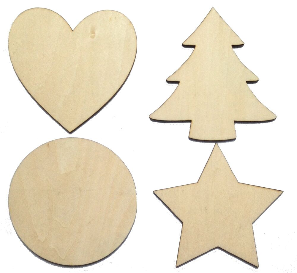 Solid wooden craft shapes hearts wood tags star circle for Wooden christmas cutouts