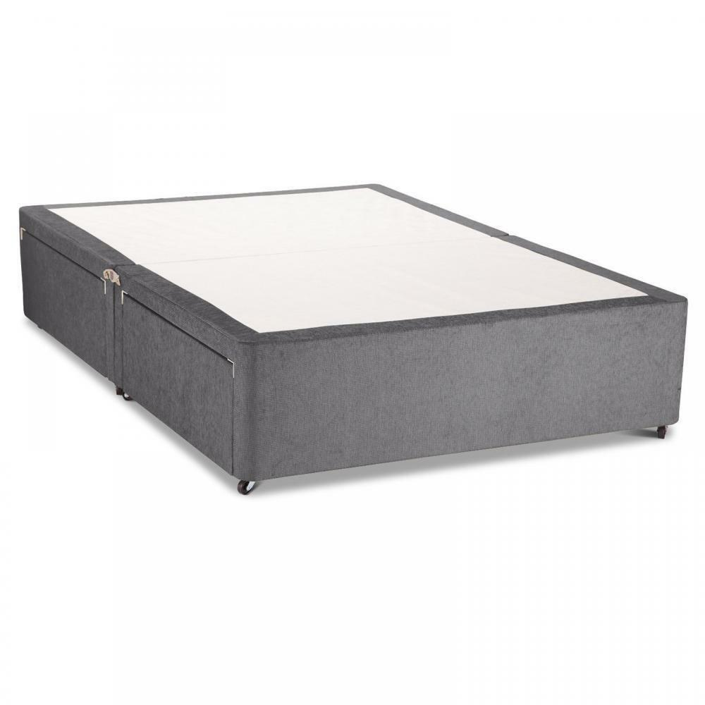 New - Charcoal Chenille Divan Bed Base - Single/Double ...