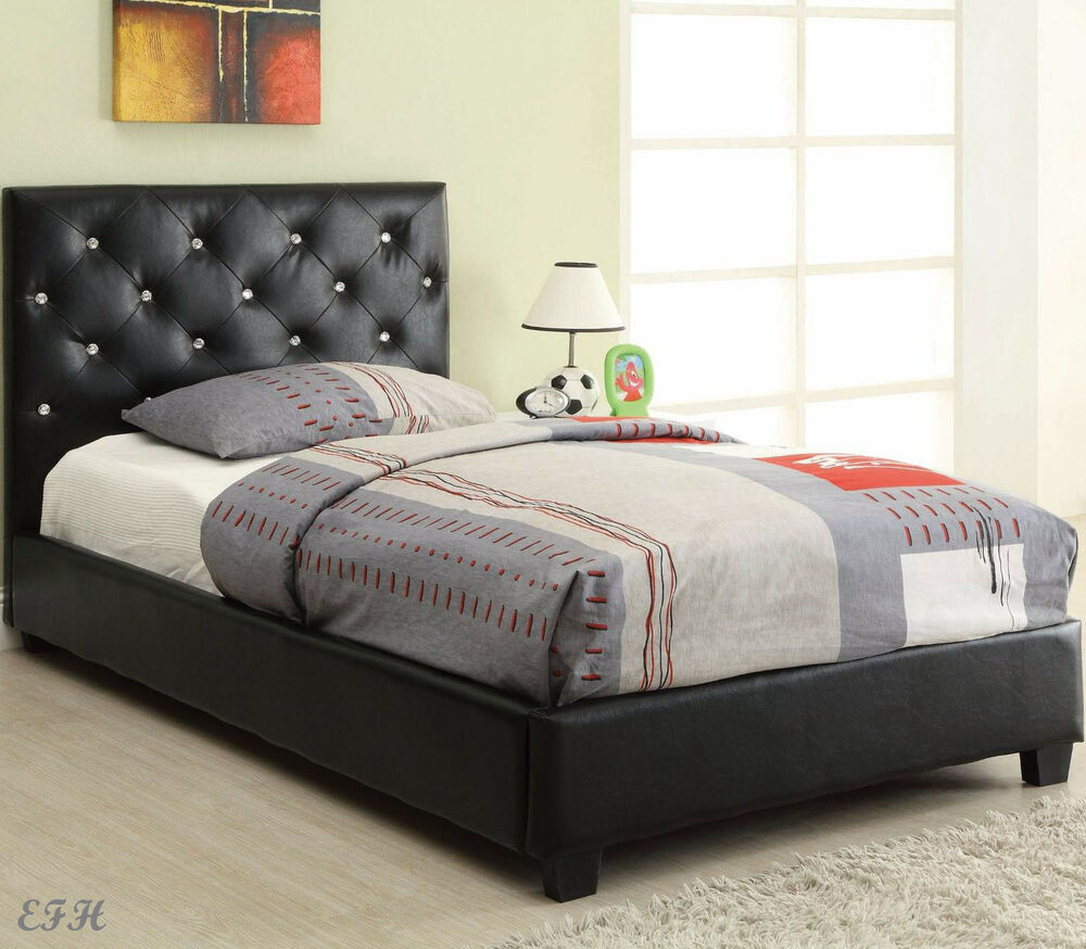 New holten modern black bycast leather faux crystal twin full queen