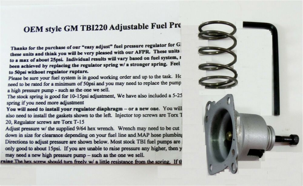 Gm Tbi Adjustable Regulator Kit 1986