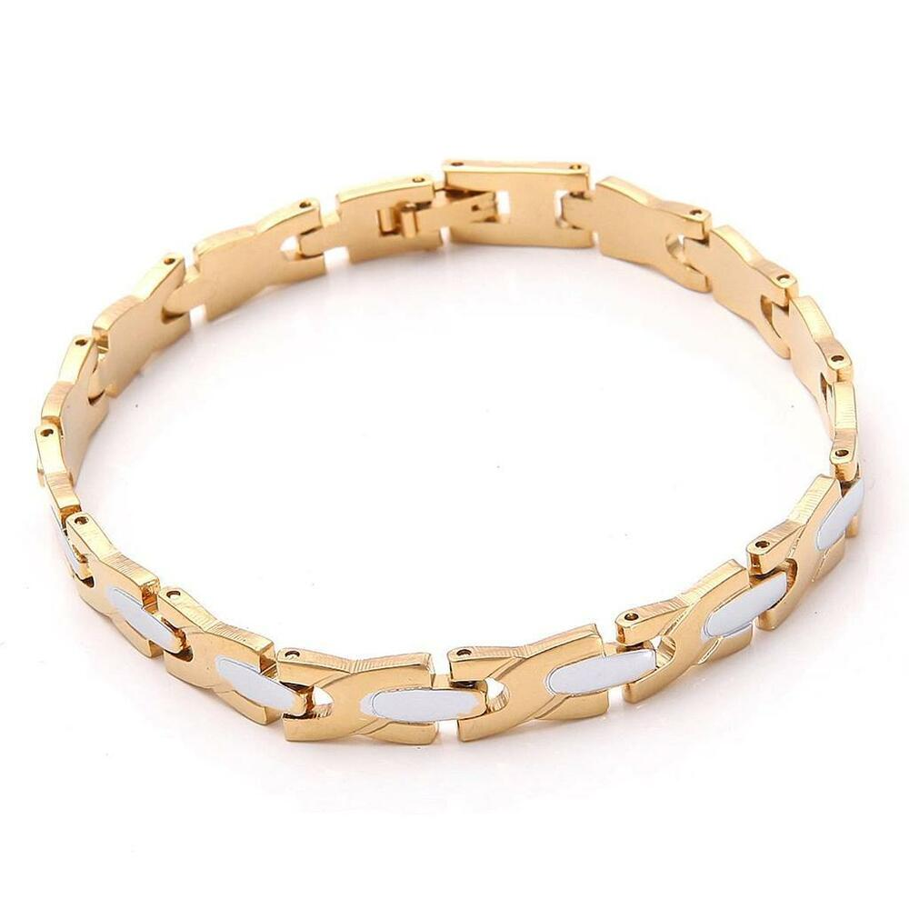 18k solid yellow gold plated s bracelet chain 16 5g