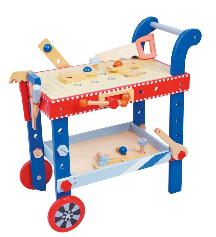 Lelin Wooden Childrens Diy Builder Tools Workbench Table Set Ebay