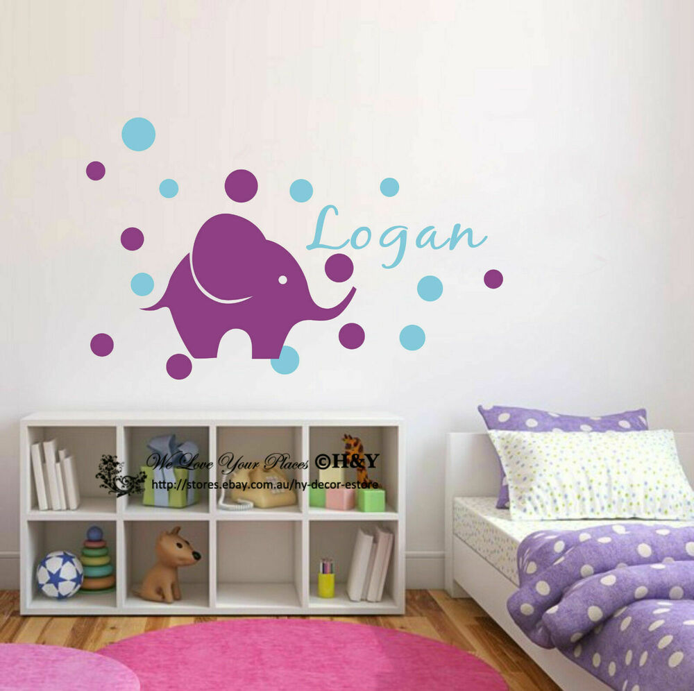 Custom personalised name elephant dots wall art stickers for Baby name nursery decoration
