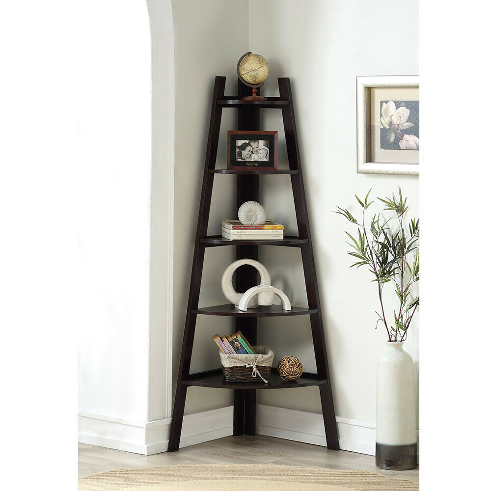 stylish wooden corner rack wall display 5 shelves bookcase bookshelf in walnut ebay. Black Bedroom Furniture Sets. Home Design Ideas