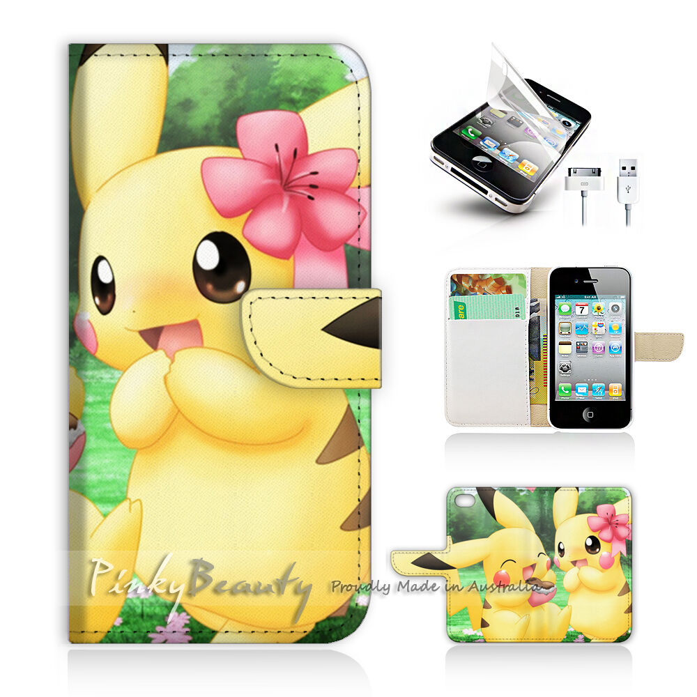 iphone 4s cases for girls iphone 4 4s print flip wallet cover pikachu and 17348
