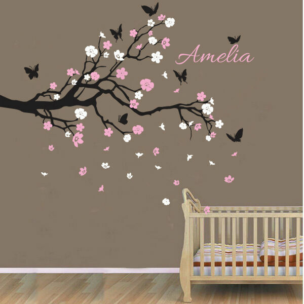 Name Wall Decals For Nursery Tags: Custom Personalised Name Birds Butterfly Branch Wall