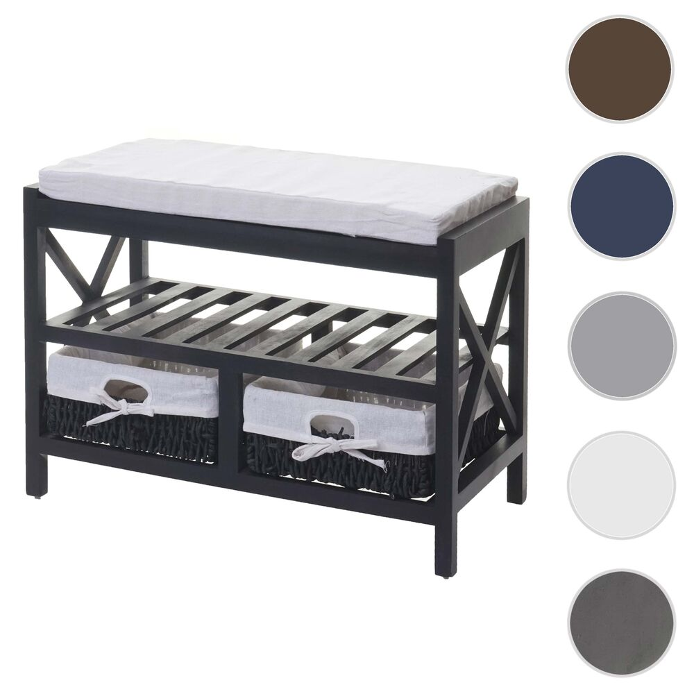 schuhregal sitzbank 45x65x34cm shabby look wei lackiert. Black Bedroom Furniture Sets. Home Design Ideas