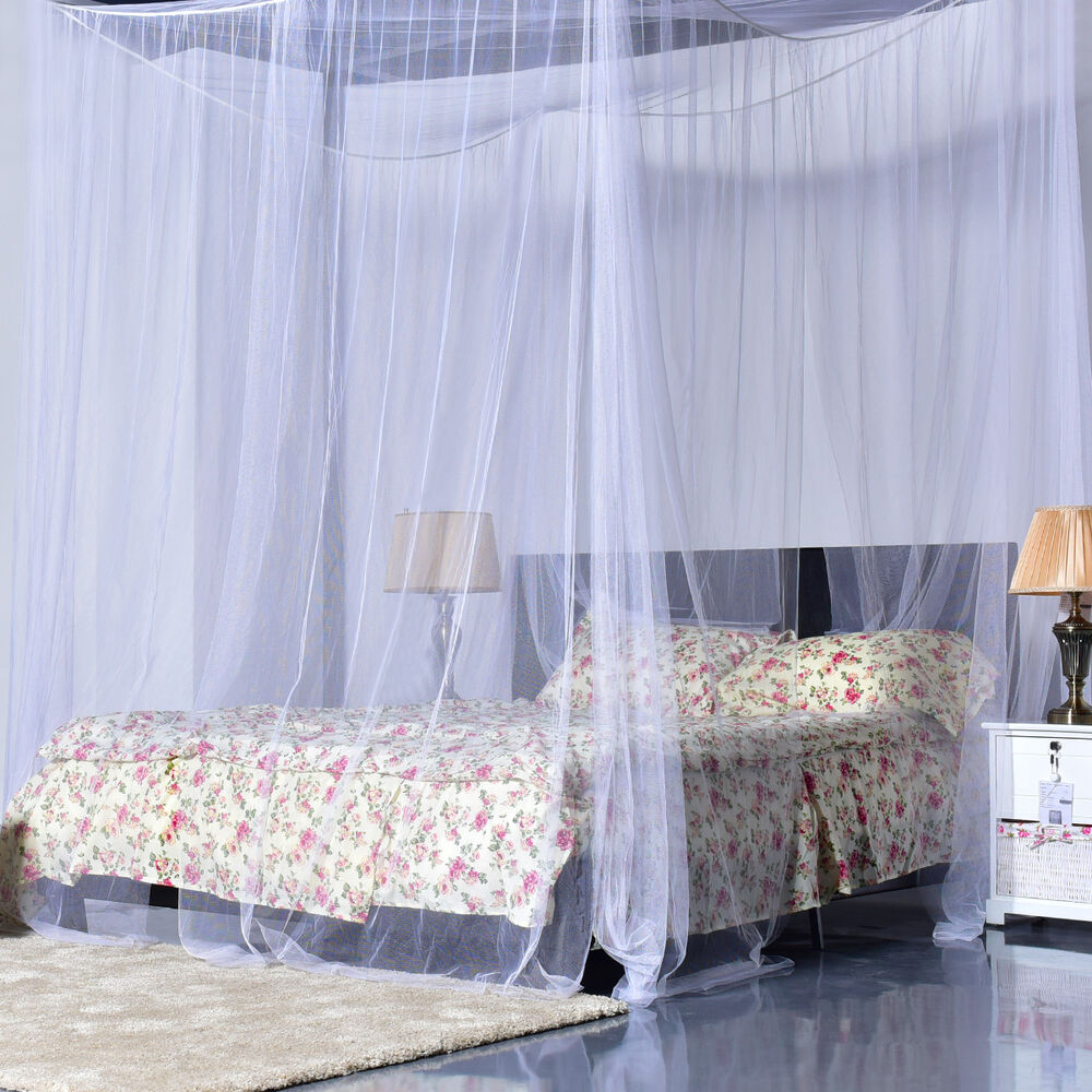 4 corner post bed canopy mosquito net full queen king size for Bed with mosquito net decoration