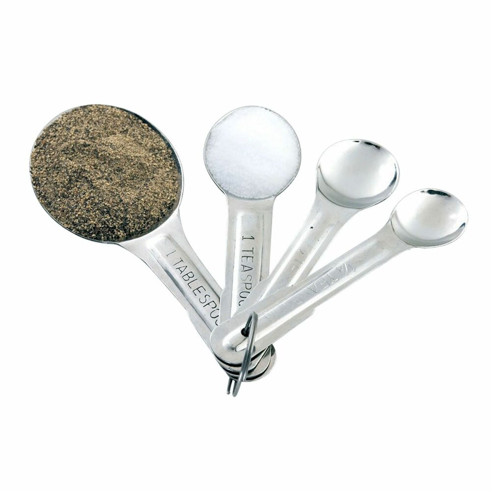 Stainless steel 4 piece measuring spoons set tablespoon for 1 table spoon to ml