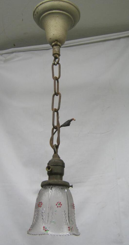 Victorian Foyer Lighting : Antique brass victorian hall foyer ceiling light floral