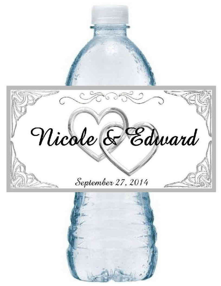100 personalized silver hearts wedding water bottle labels for Custom waterproof labels for water bottles