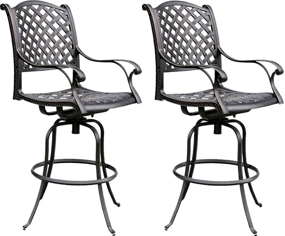 Nassau Bar Stools Outdoor Living Cast Aluminum Furniture Patio Swivles Set Of
