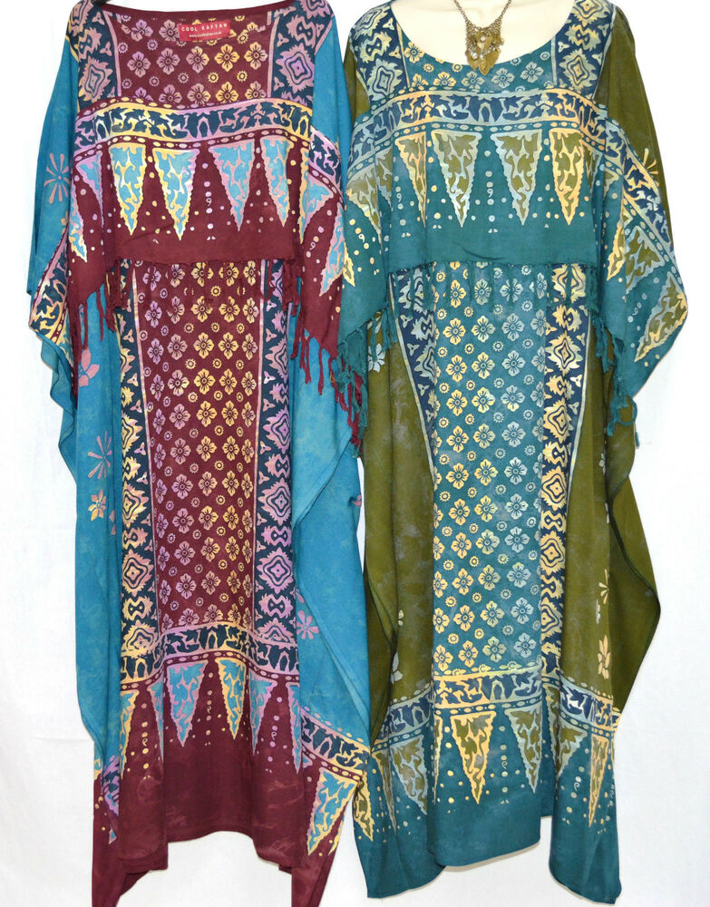 new rimba buttersoft batik kaftan maxi dress tunic one size plus boho hippie ebay. Black Bedroom Furniture Sets. Home Design Ideas