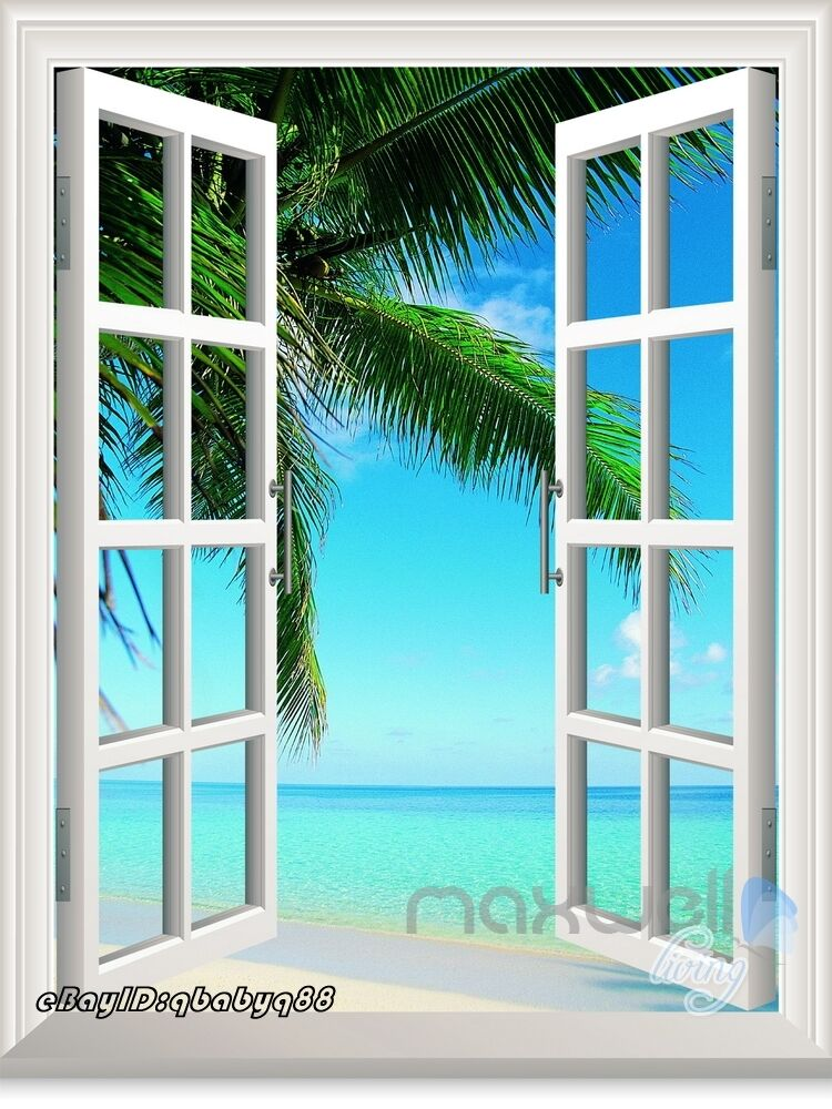 Large palm tree beach 3d window view removable wall decals for Beach mural curtains