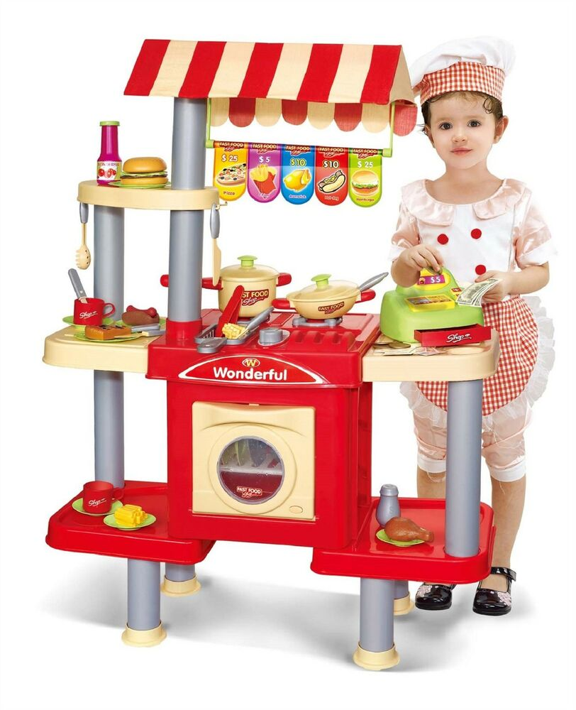 Play Cooking Toys : Vinsani childrens kids pretend play fast food kitchen