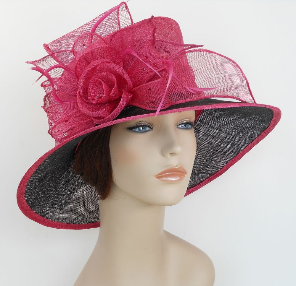 New woman church derby wedding sinamay ascot dress hat for Dress hats for weddings