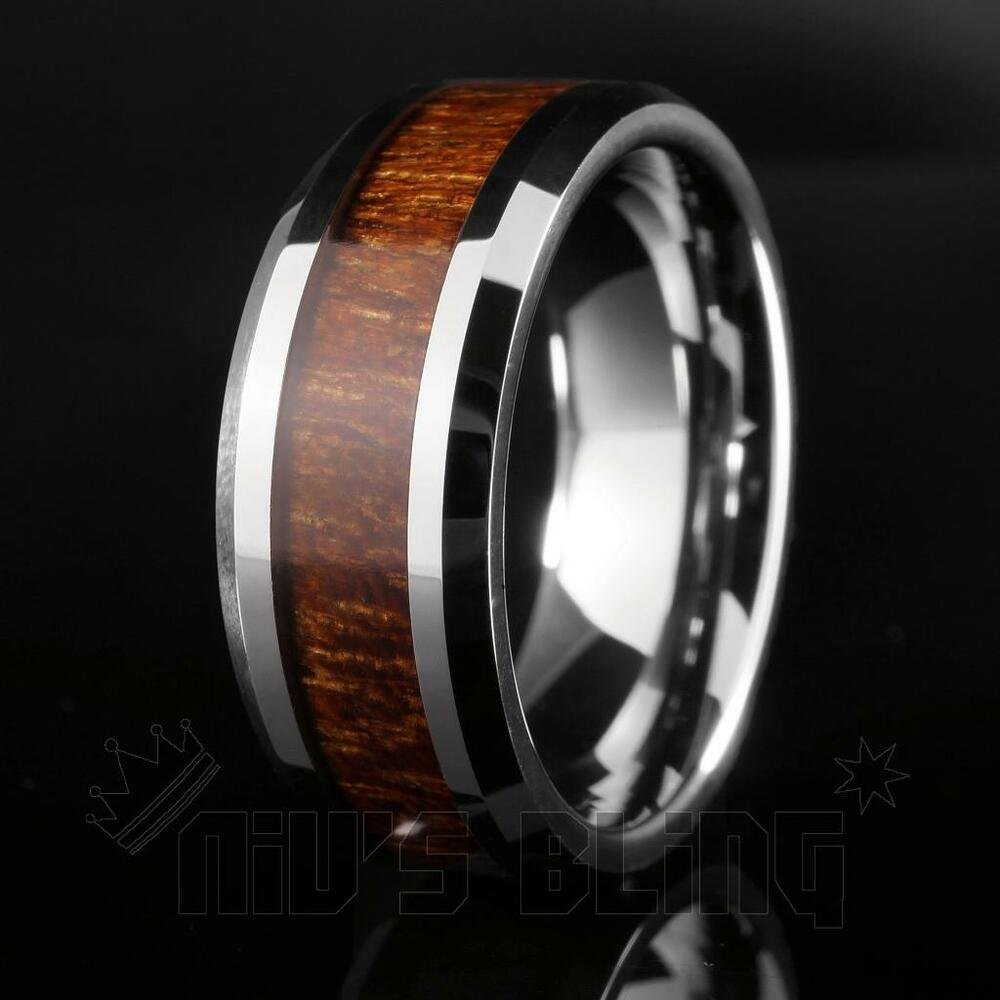 Silver Tungsten Carbide Wood Inlay Wedding Band Bridal