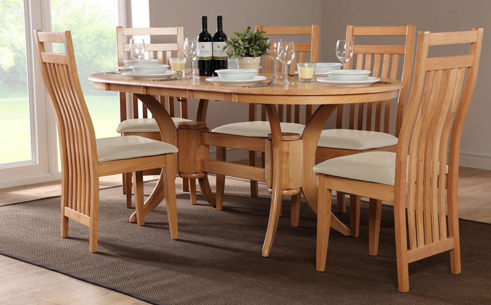 bali extending oak dining table and 4 6 chairs set ivory ebay