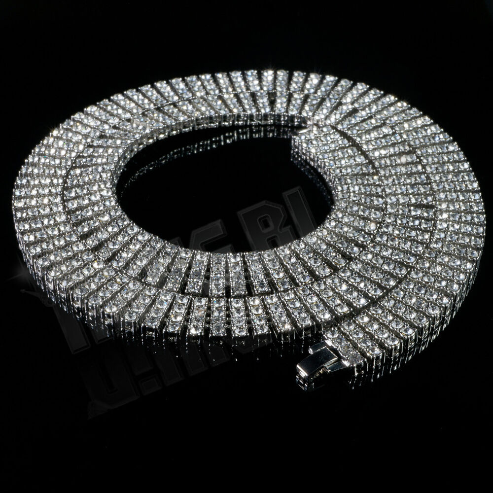 14k White Gold 4 Row Simulate Diamond Ice Out Silver Chain