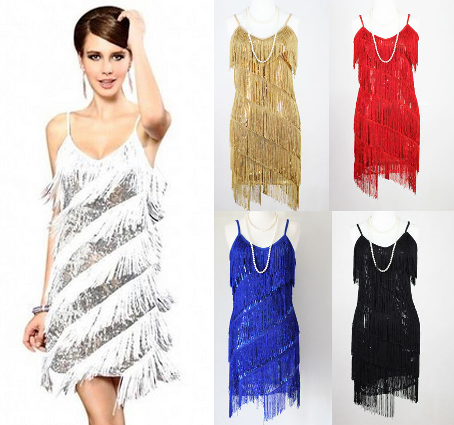 Gatsby Dresses: FLAPPER FRINGE 1920s GREAT GATSBY PARTY SEQUIN LATIN DRESS