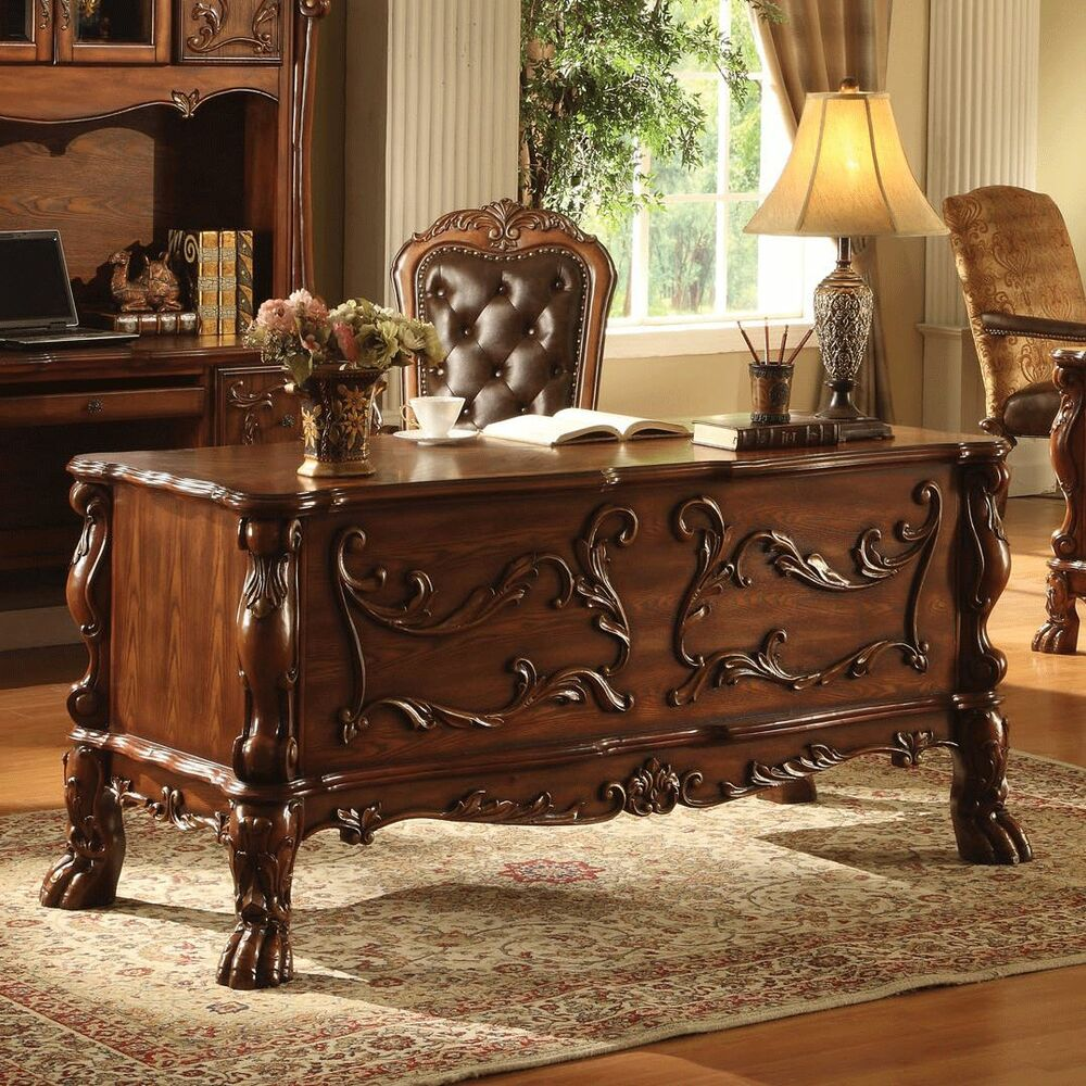 Traditional antique solid carved wood office desk table for Home decor furniture catalog