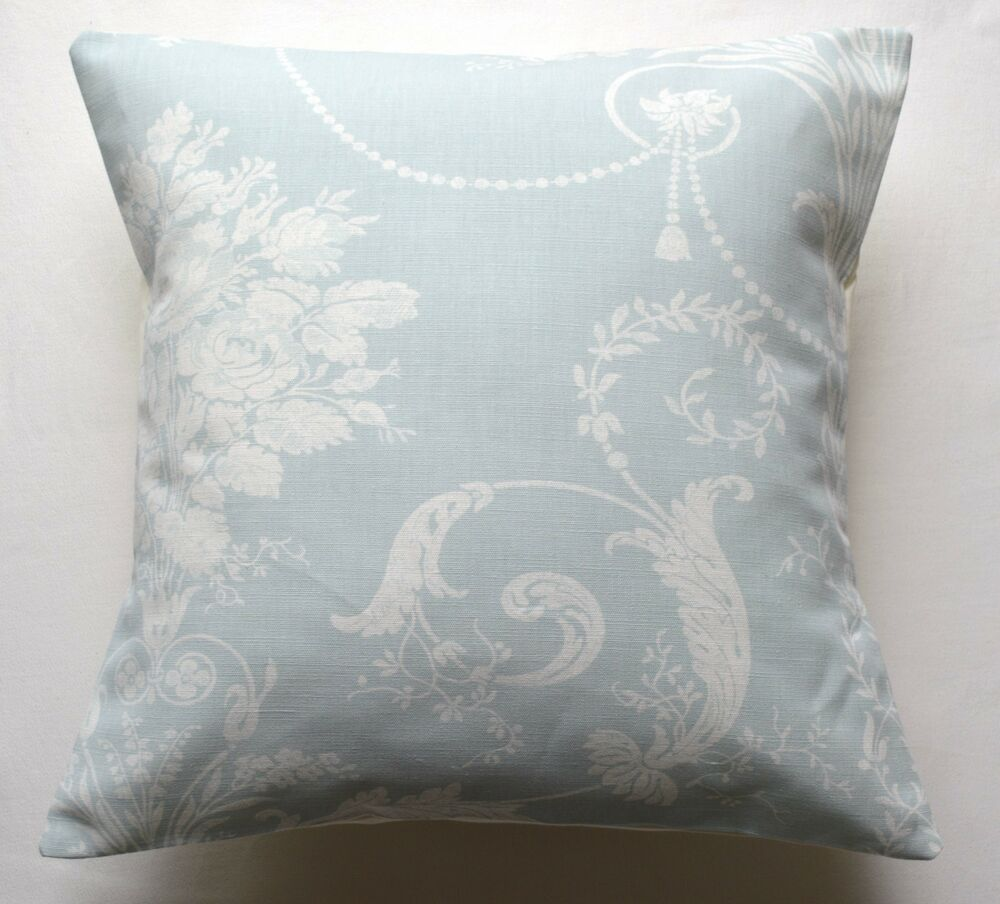 16 laura ashley 39 josette 39 duck egg blue fabric cushion. Black Bedroom Furniture Sets. Home Design Ideas