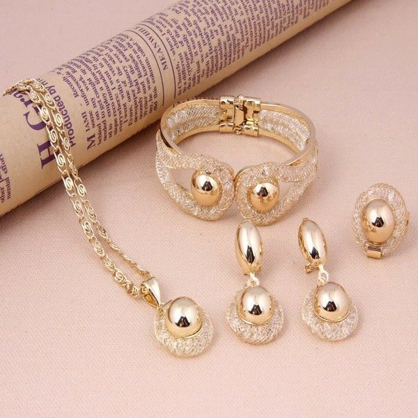 New Fashion Women Wedding Alloy Necklace Set African Gold
