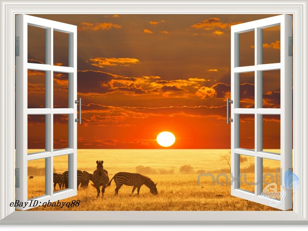 African grassland sunset 3d window view removable wall for Door mural decals