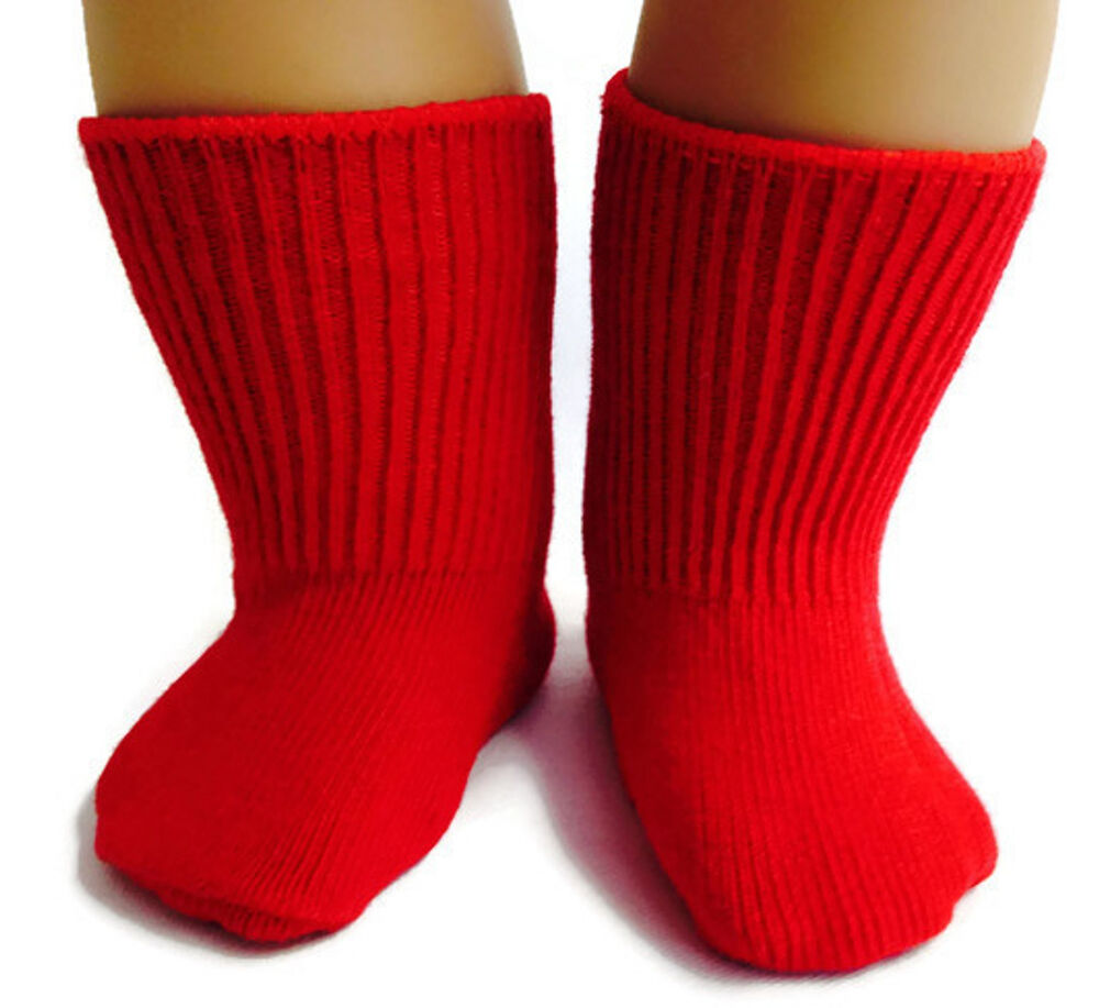 Red knit sport socks made for 18 034 american girl doll clothes ebay