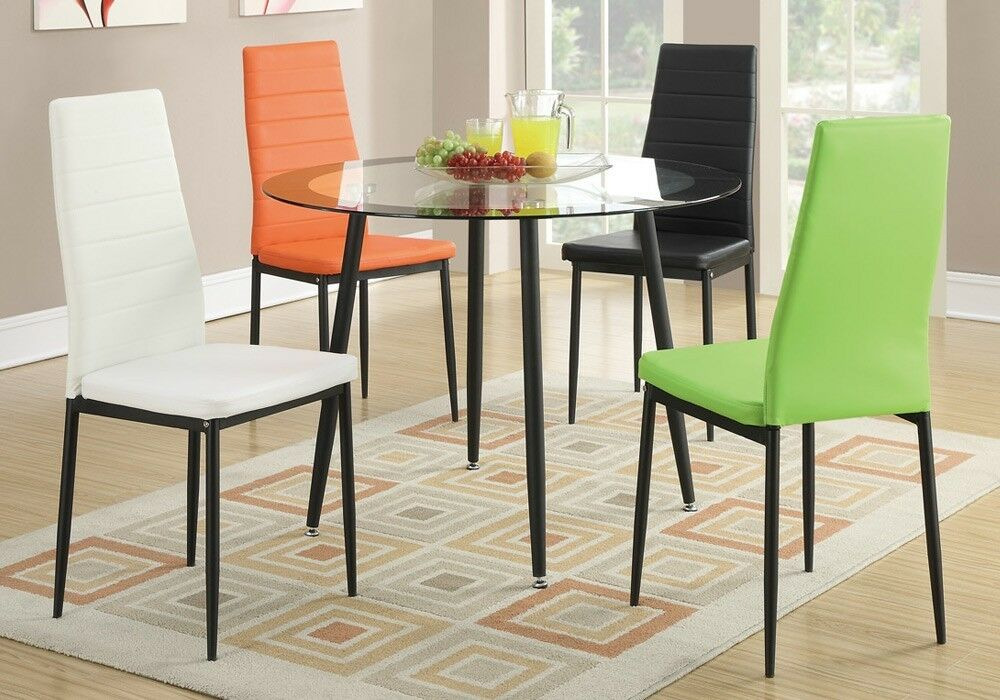 Set of 4 retro dining chairs w faux leather black metal for Colorful dining chairs
